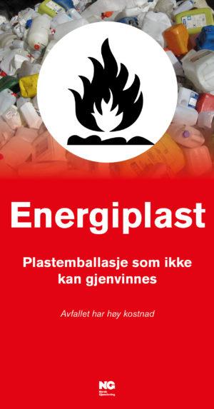 Informasjonsskilt om avfallstypen Energiplast 22x42 cm