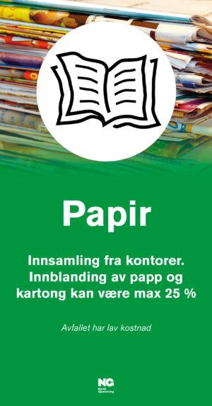 Informasjonsskilt om avfallstypen Papir22x42