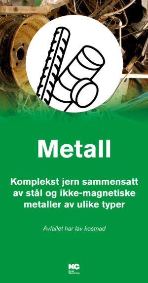 Informasjonsskilt om avfallstypen Metall 22x42 cm